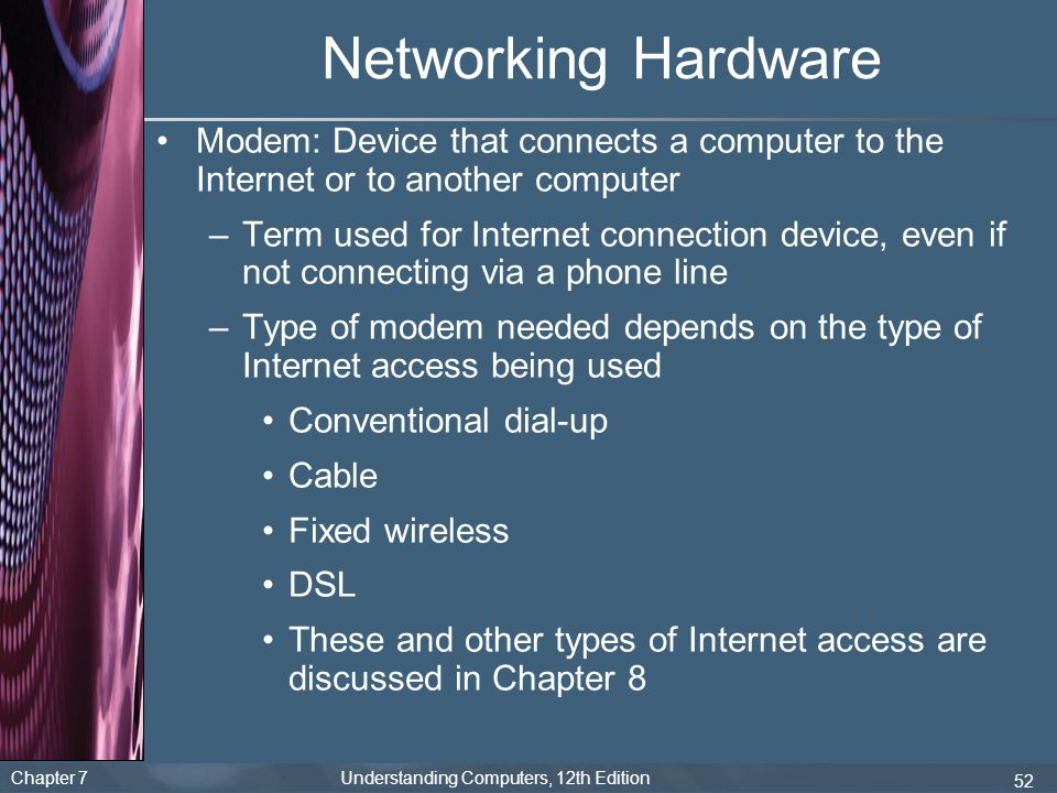 Networking Hardware Modem: Device that connects a computer to the Internet or to another computer.