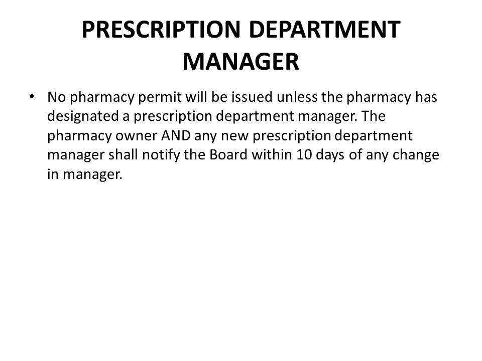 PRESCRIPTION DEPARTMENT MANAGER