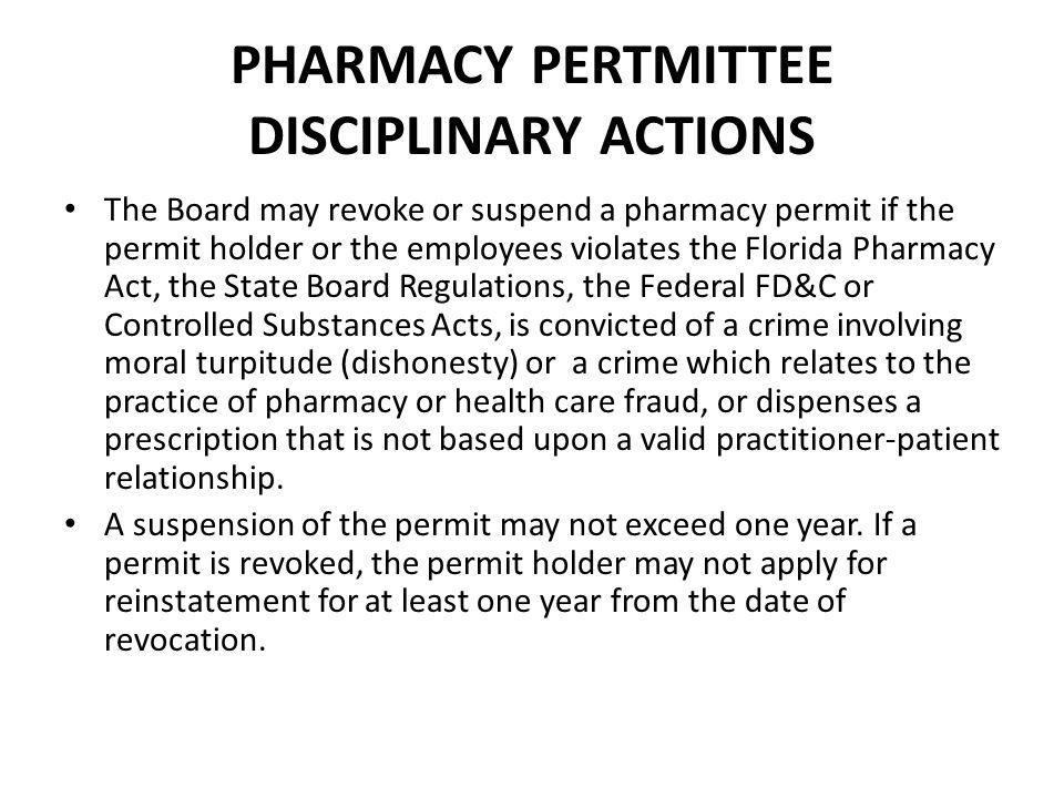 PHARMACY PERTMITTEE DISCIPLINARY ACTIONS