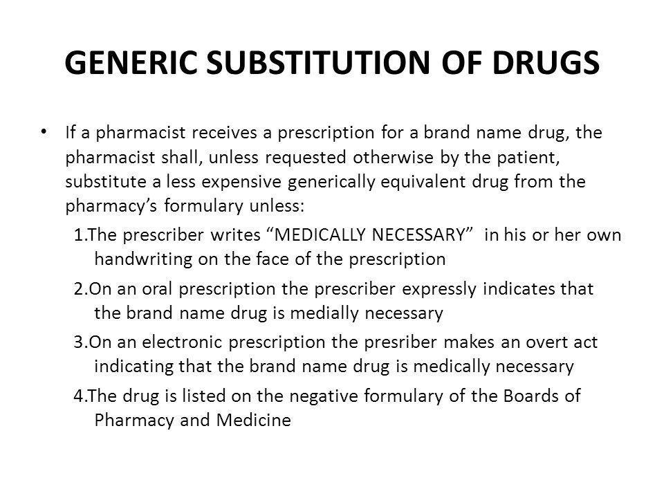 GENERIC SUBSTITUTION OF DRUGS
