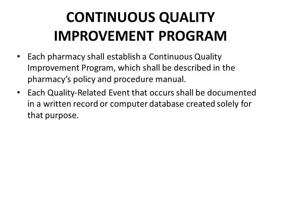 CONTINUOUS QUALITY IMPROVEMENT PROGRAM