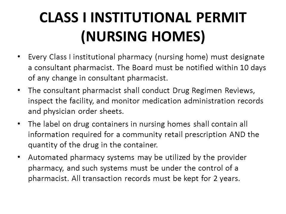 CLASS I INSTITUTIONAL PERMIT (NURSING HOMES)