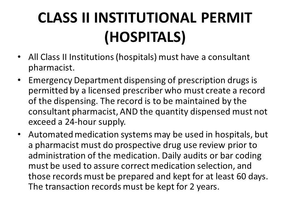 CLASS II INSTITUTIONAL PERMIT (HOSPITALS)