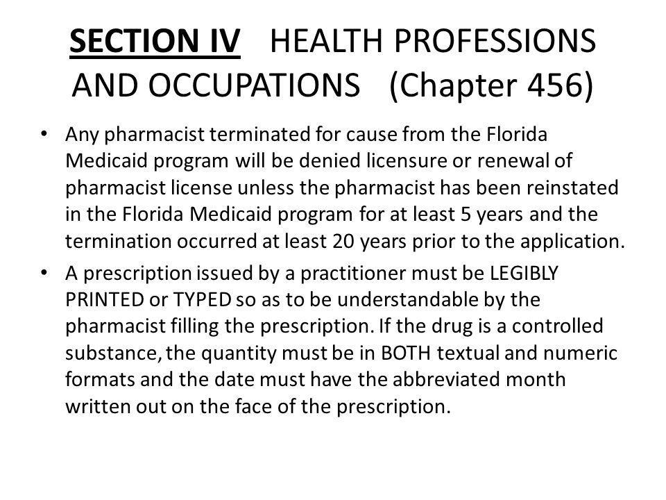 SECTION IV HEALTH PROFESSIONS AND OCCUPATIONS (Chapter 456)