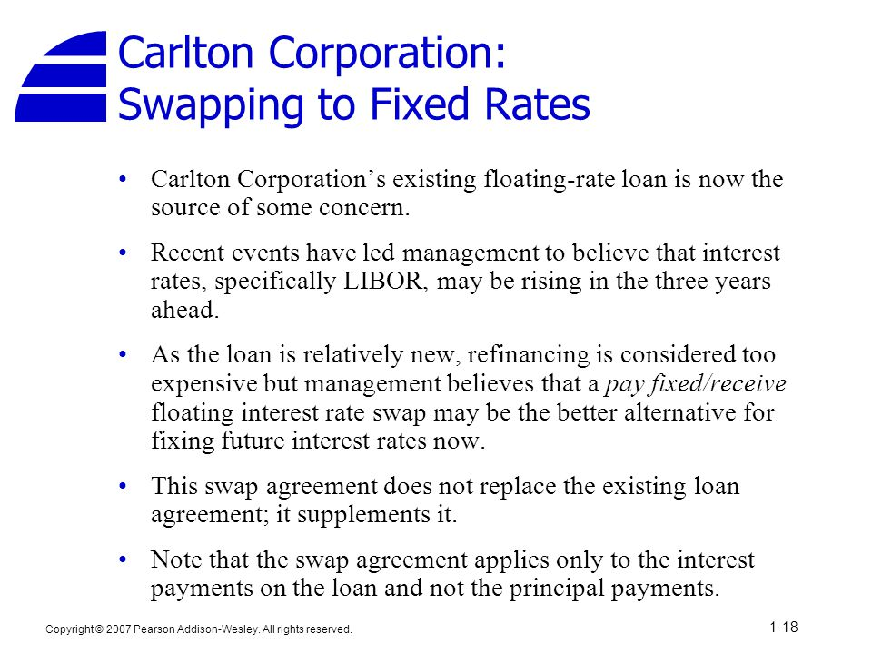 Carlton Corporation: Swapping to Fixed Rates
