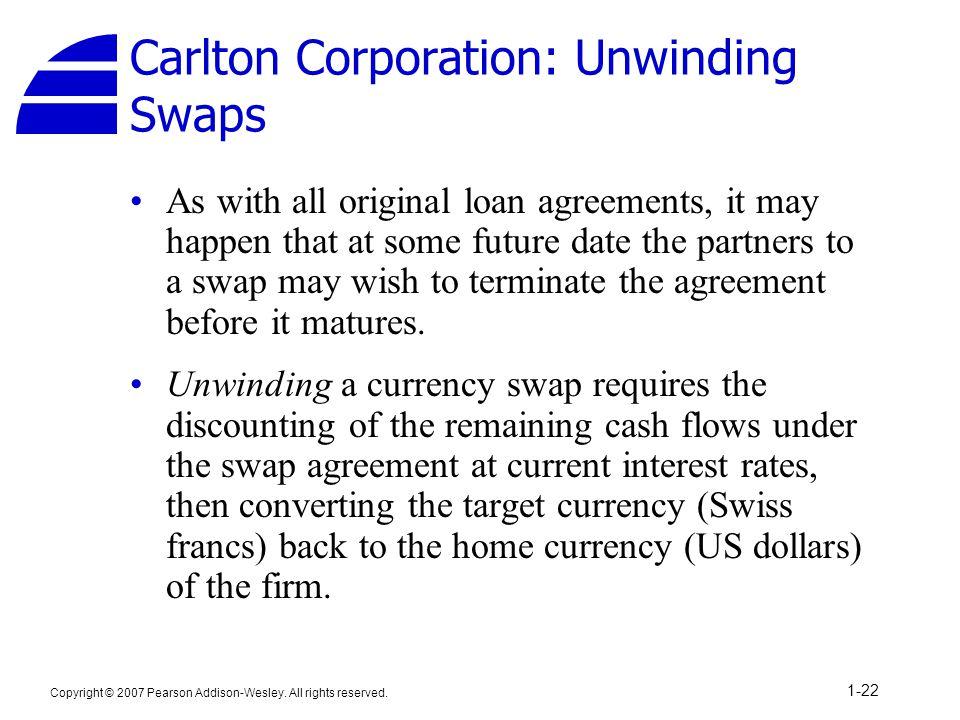 Carlton Corporation: Unwinding Swaps