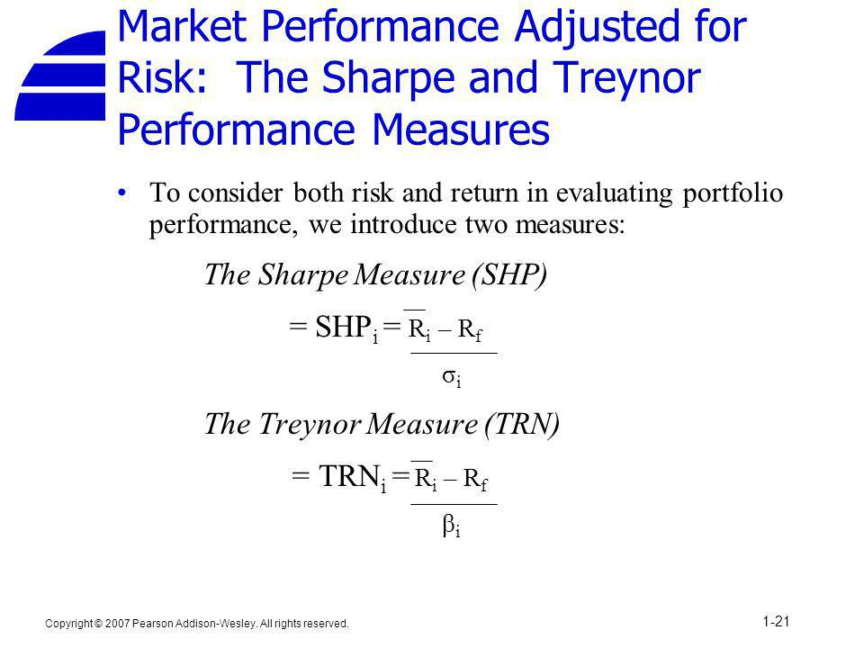 Market Performance Adjusted for Risk: The Sharpe and Treynor Performance Measures