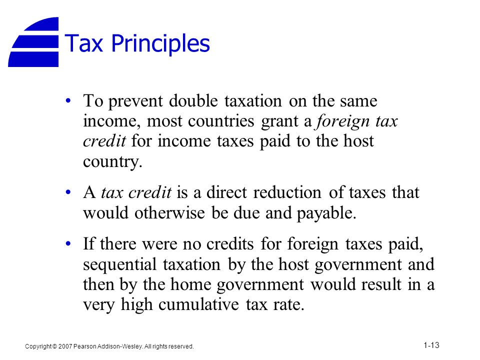 Tax Principles To prevent double taxation on the same income, most countries grant a foreign tax credit for income taxes paid to the host country.