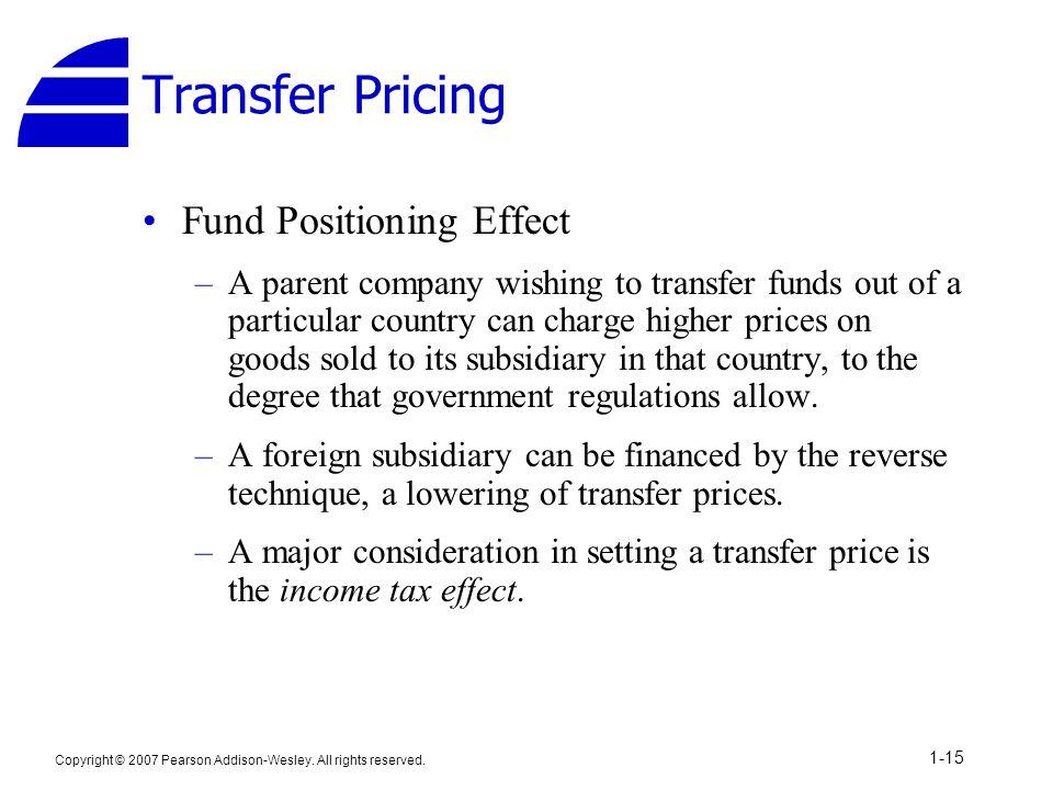 Transfer Pricing Fund Positioning Effect