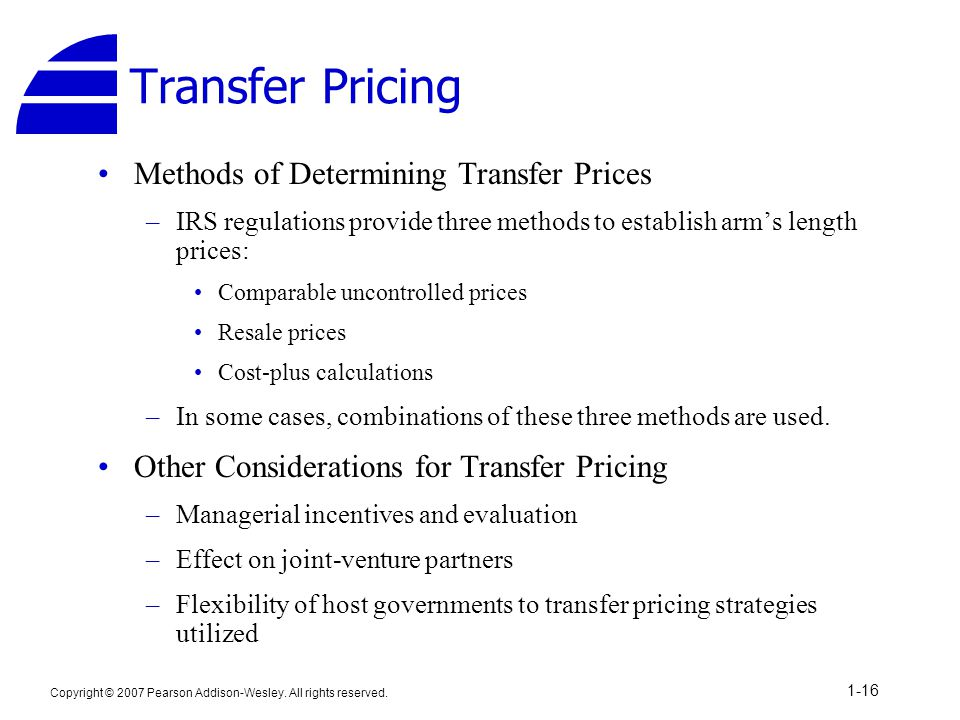 Transfer Pricing Methods of Determining Transfer Prices