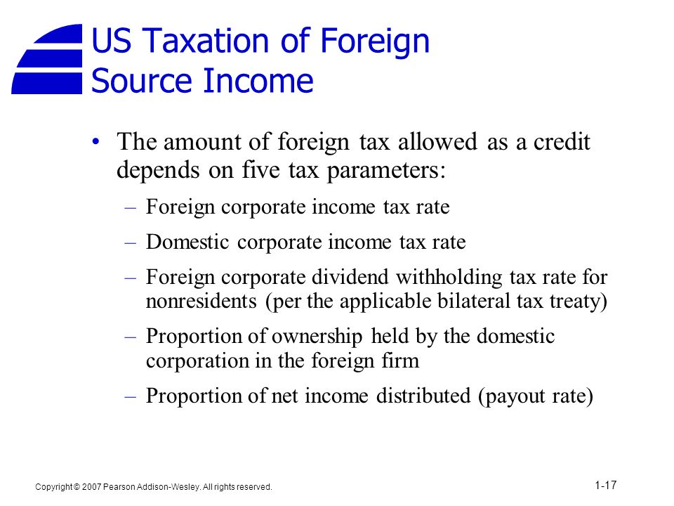 US Taxation of Foreign Source Income