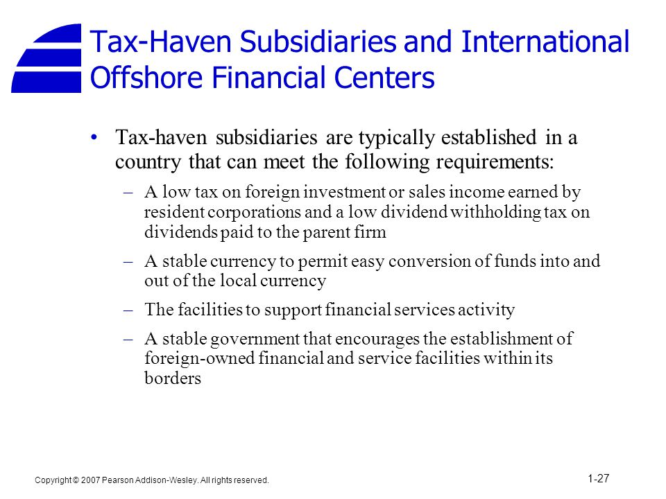Tax-Haven Subsidiaries and International Offshore Financial Centers