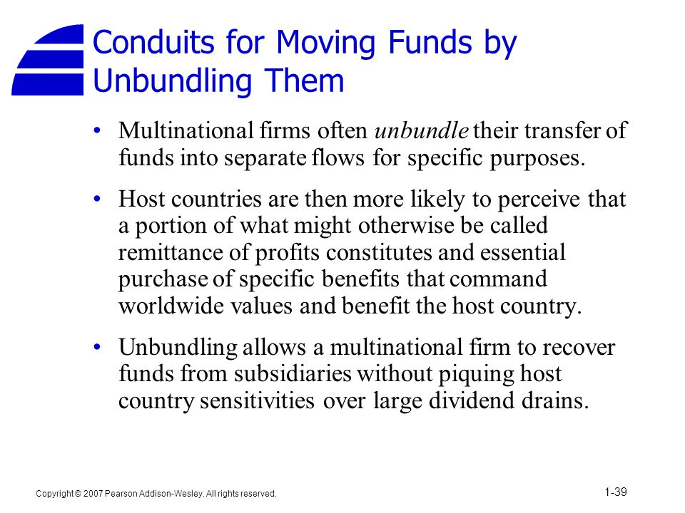 Conduits for Moving Funds by Unbundling Them
