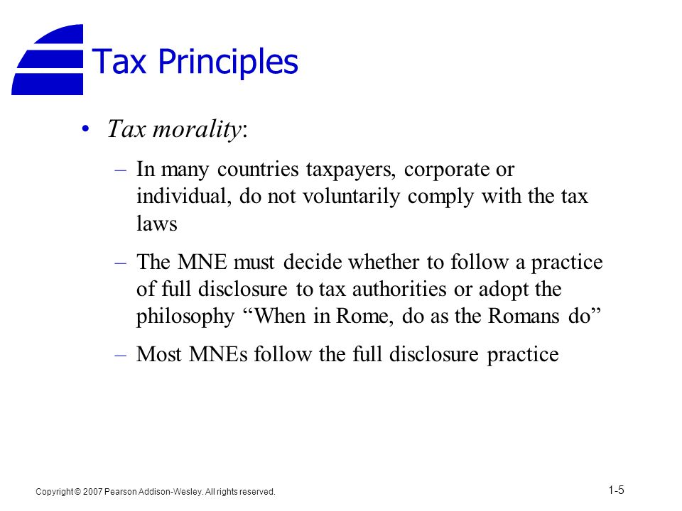 Tax Principles Tax morality:
