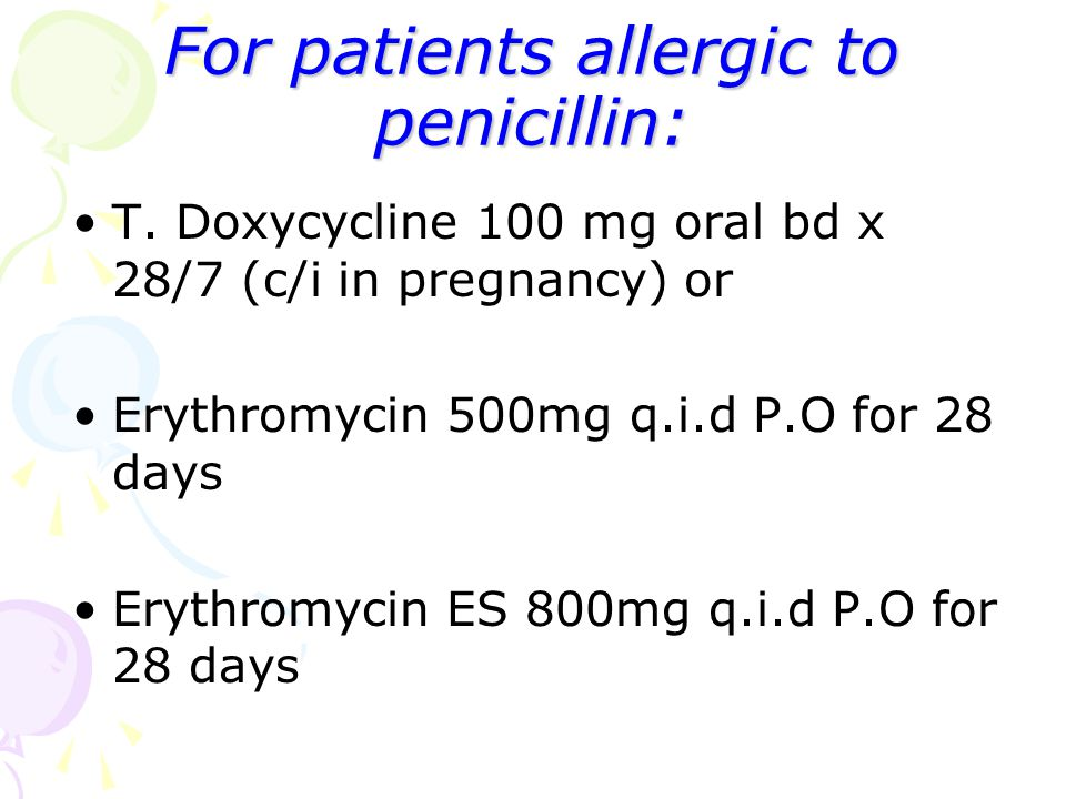 For patients allergic to penicillin: