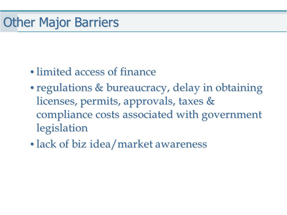Other Major Barriers limited access of finance