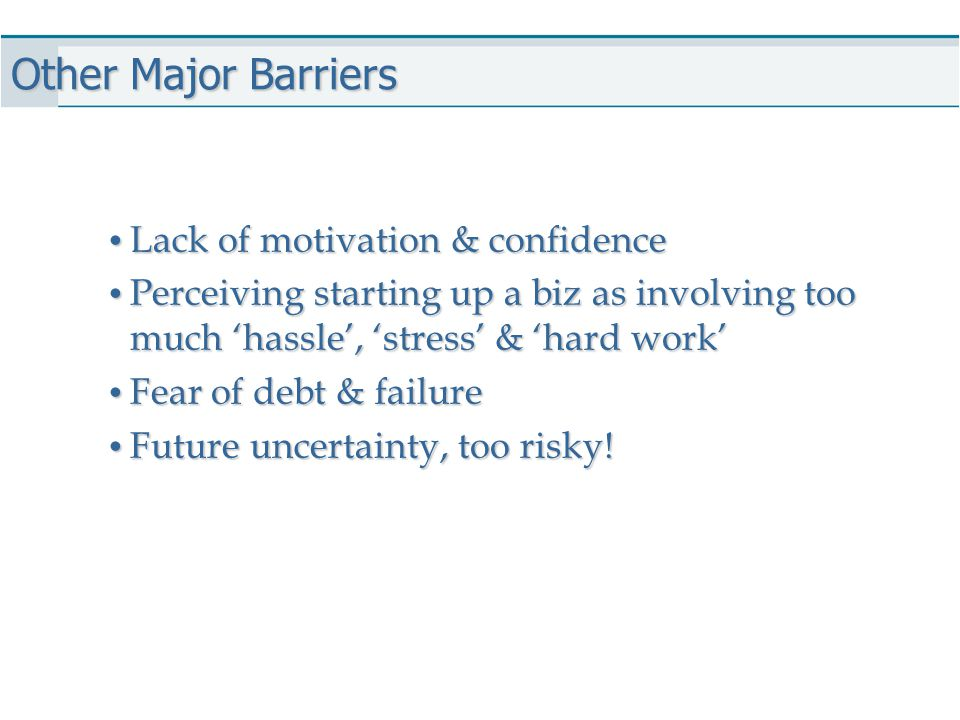 Other Major Barriers Lack of motivation & confidence