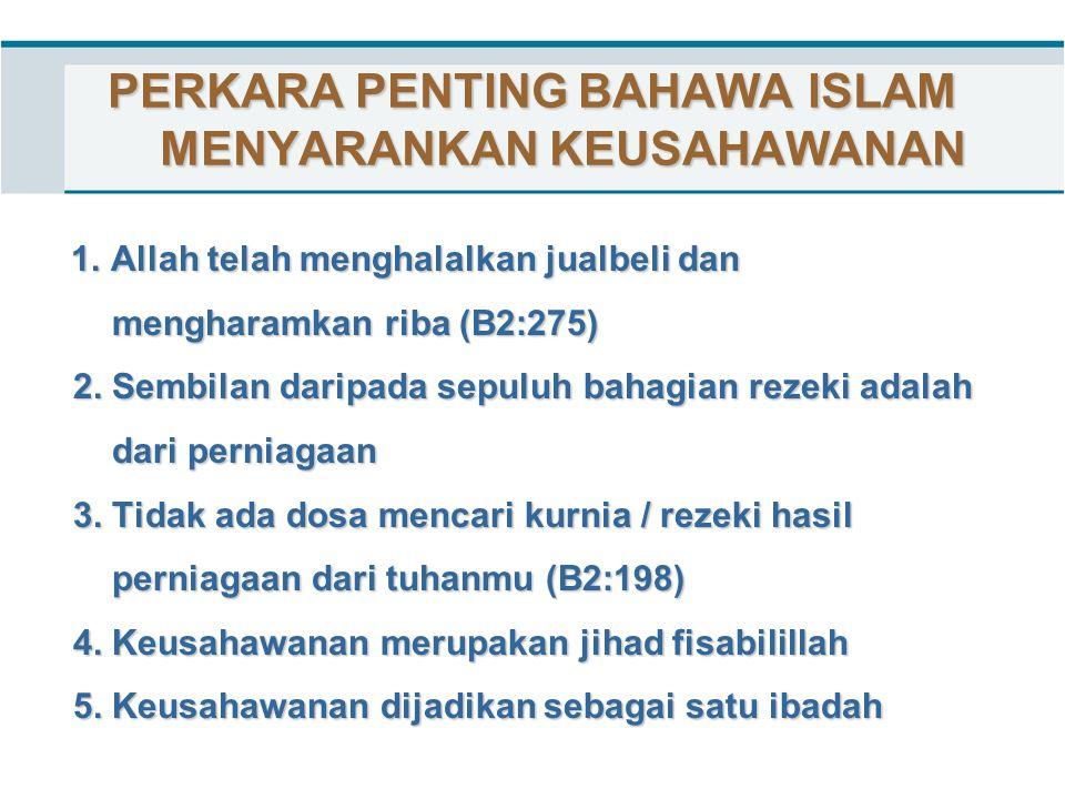 PERKARA PENTING BAHAWA ISLAM MENYARANKAN KEUSAHAWANAN