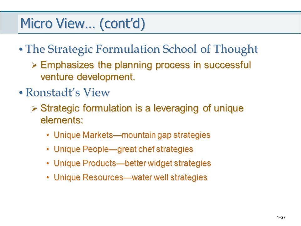 Micro View… (cont'd) The Strategic Formulation School of Thought