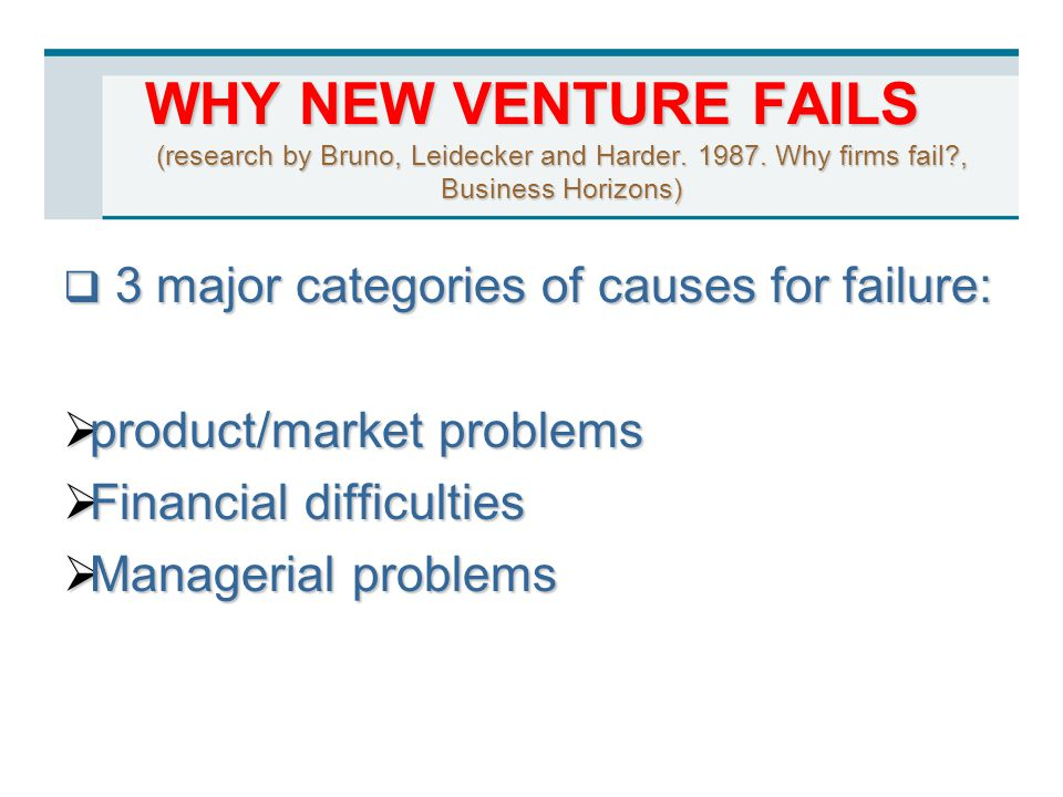 WHY NEW VENTURE FAILS (research by Bruno, Leidecker and Harder. 1987