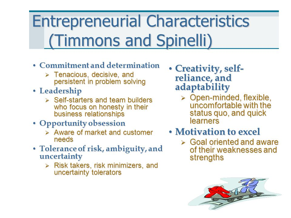 Entrepreneurial Characteristics (Timmons and Spinelli)