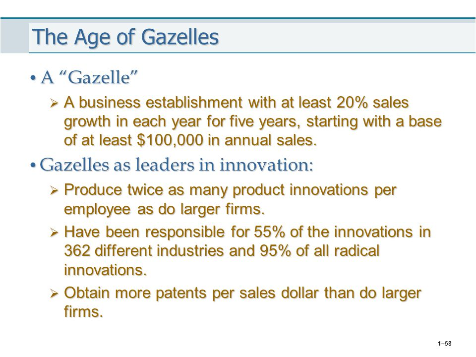 The Age of Gazelles A Gazelle Gazelles as leaders in innovation: