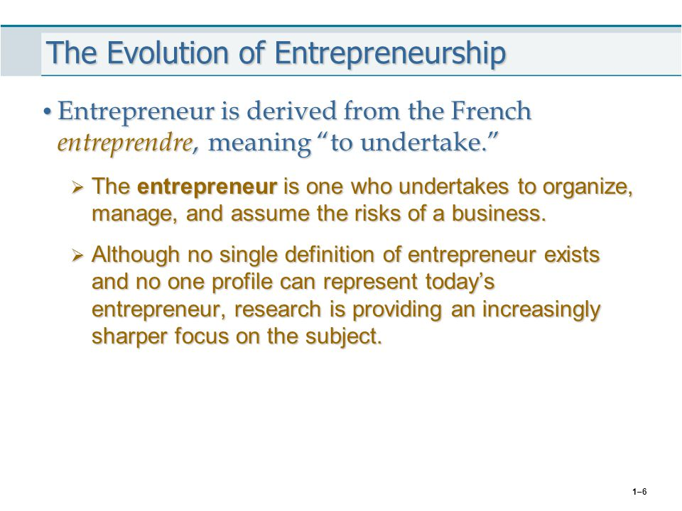 The Evolution of Entrepreneurship