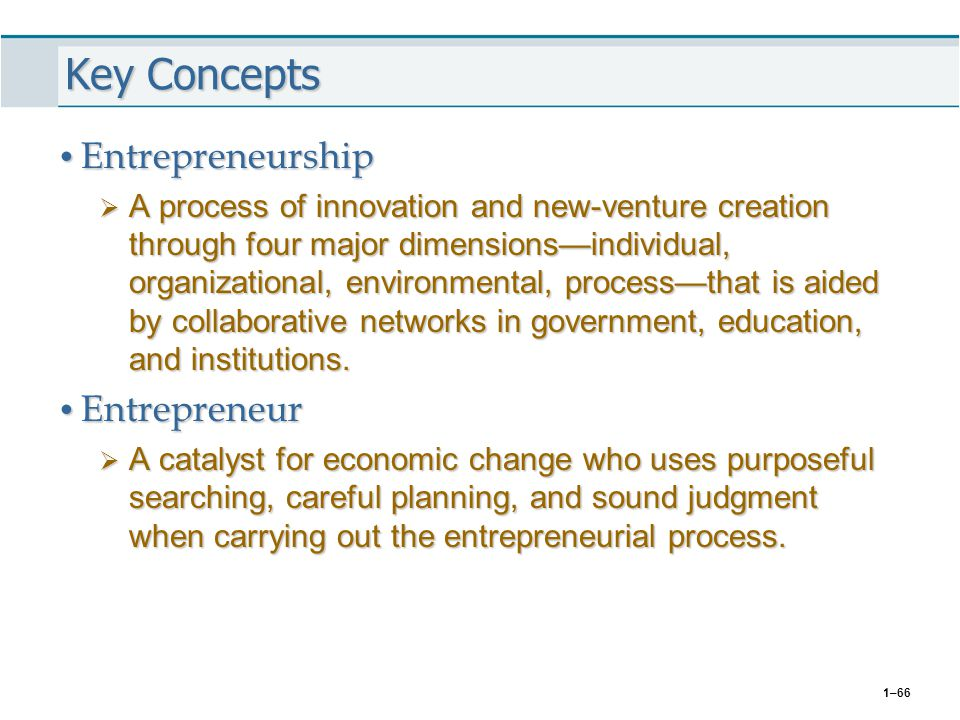 Key Concepts Entrepreneurship Entrepreneur