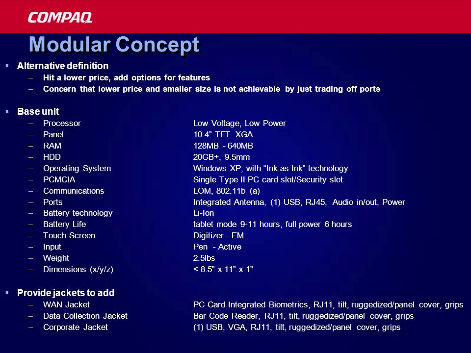 Modular Concept Alternative definition Base unit