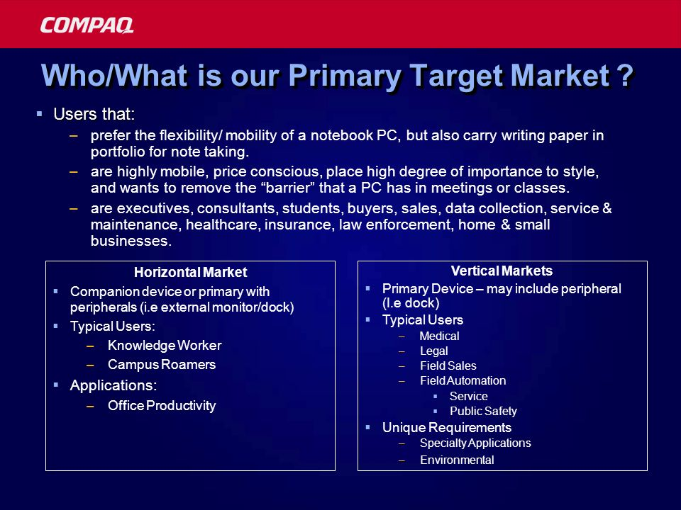Who/What is our Primary Target Market