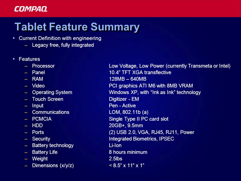 Tablet Feature Summary