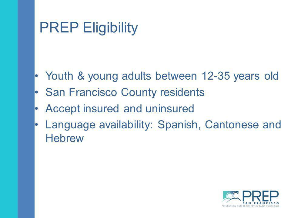 PREP Eligibility Youth & young adults between 12-35 years old