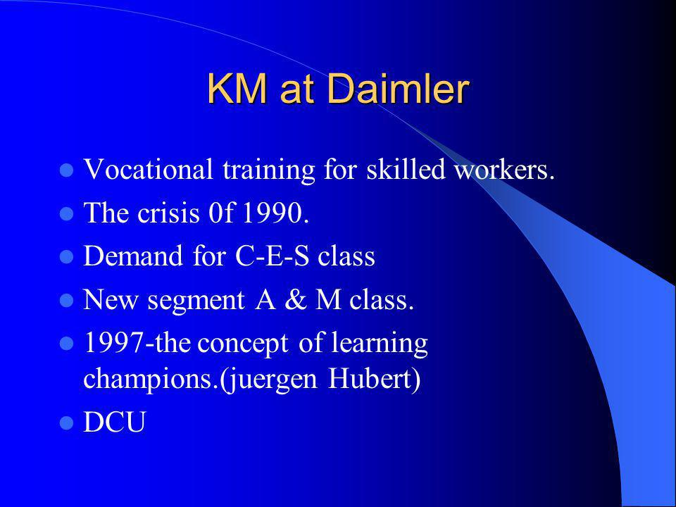 KM at Daimler Vocational training for skilled workers.