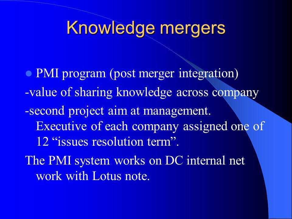 Knowledge mergers PMI program (post merger integration)