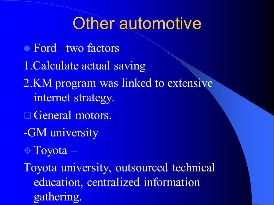 Other automotive Ford –two factors 1.Calculate actual saving