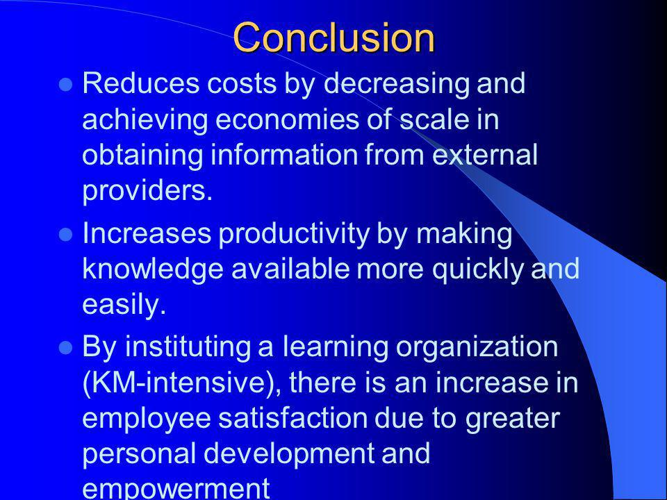 Conclusion Reduces costs by decreasing and achieving economies of scale in obtaining information from external providers.