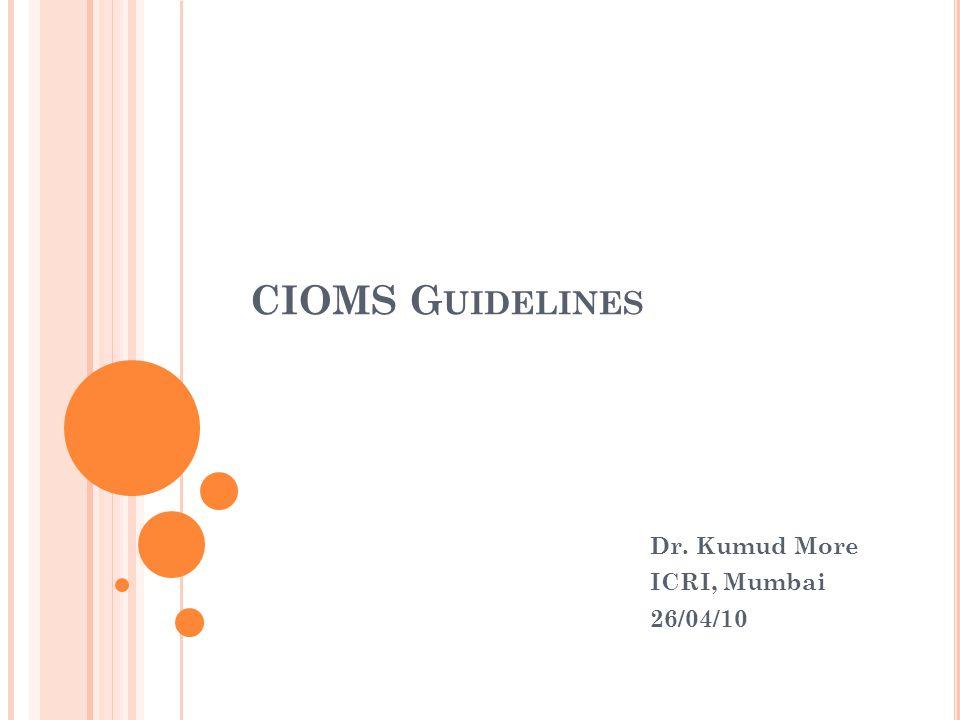 Dr. Kumud More ICRI, Mumbai 26/04/10