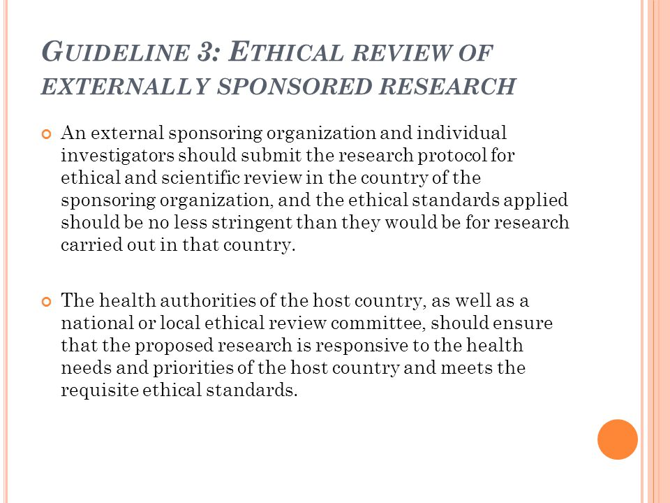 Guideline 3: Ethical review of externally sponsored research
