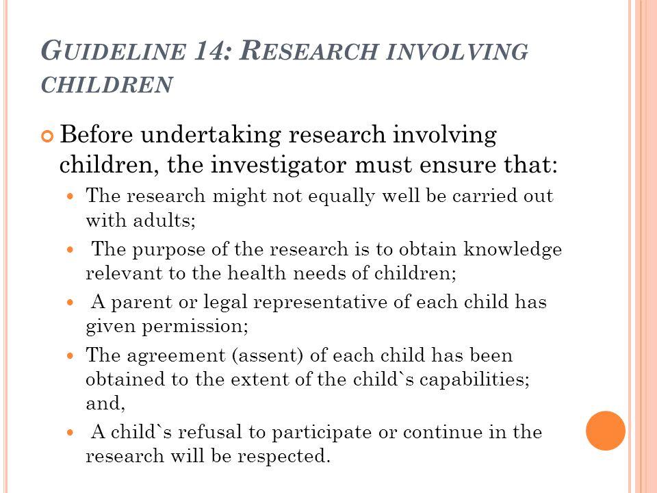 Guideline 14: Research involving children