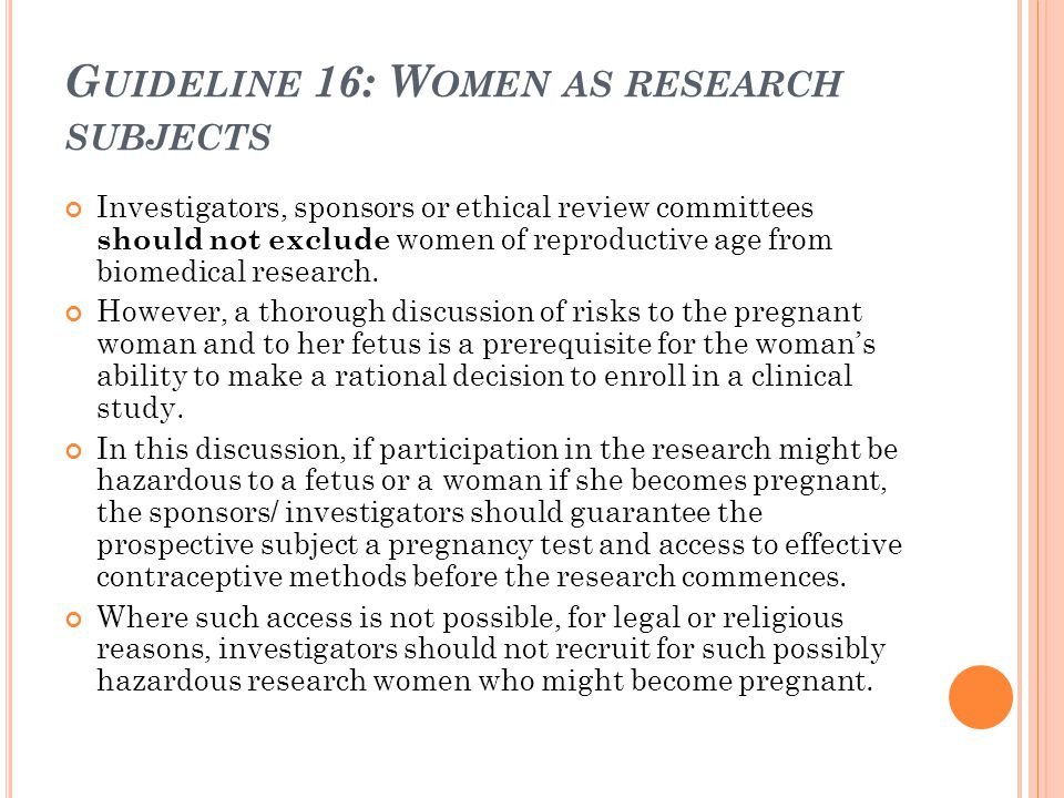 Guideline 16: Women as research subjects