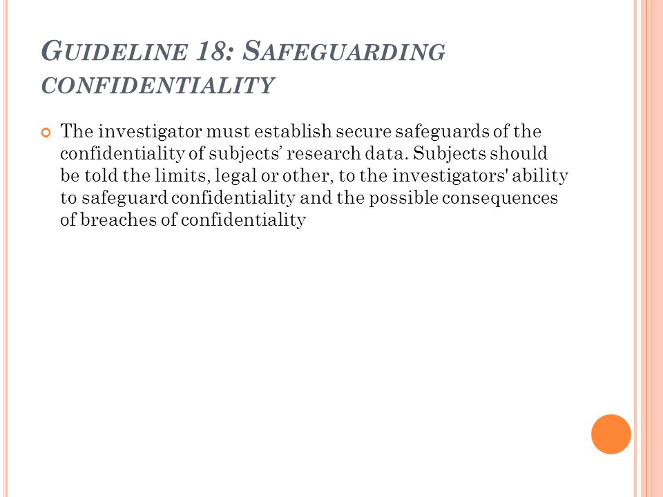 Guideline 18: Safeguarding confidentiality