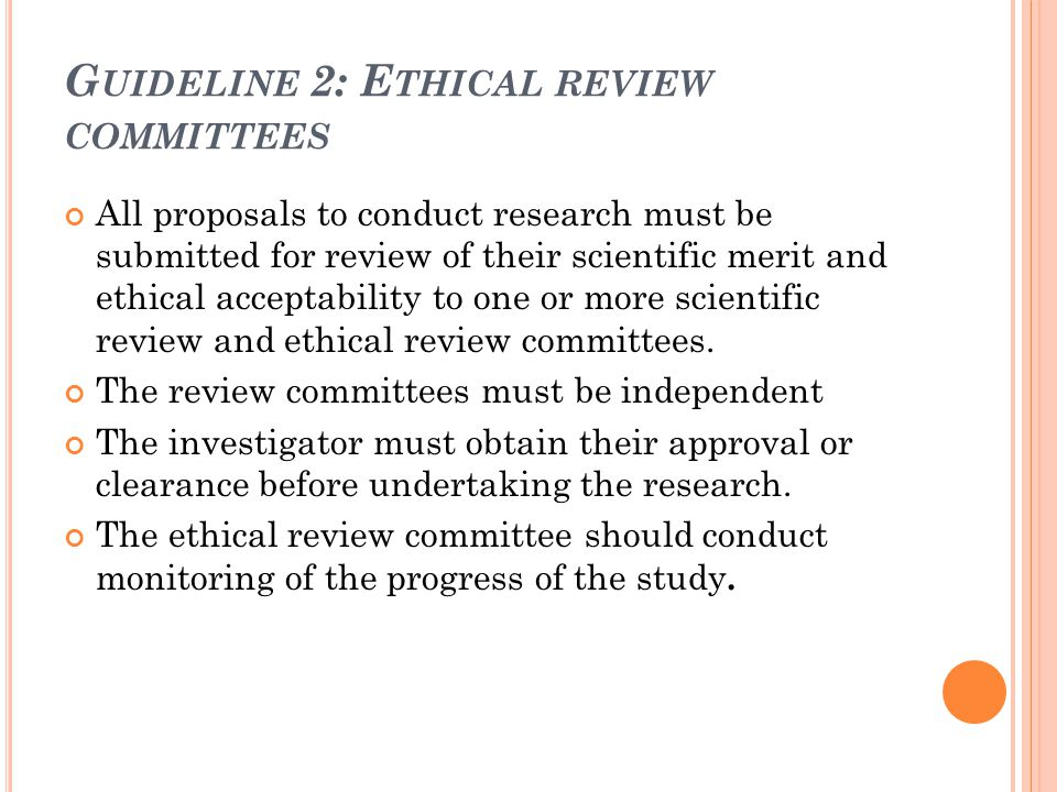 Guideline 2: Ethical review committees