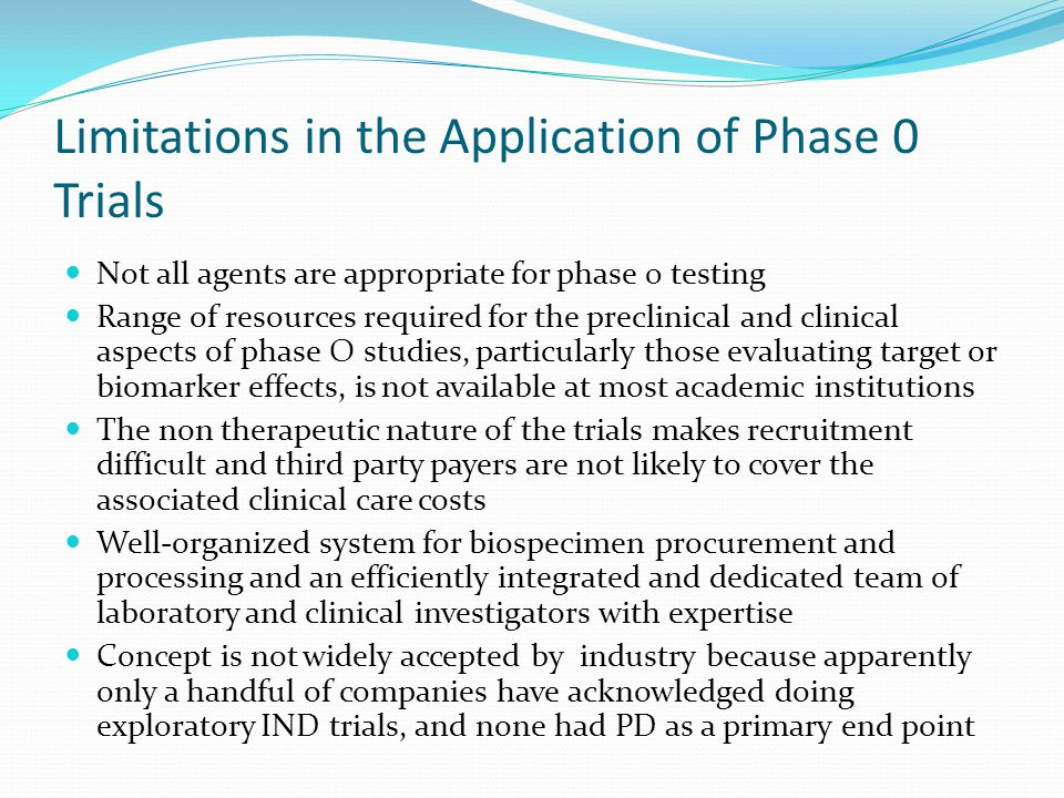 Limitations in the Application of Phase 0 Trials