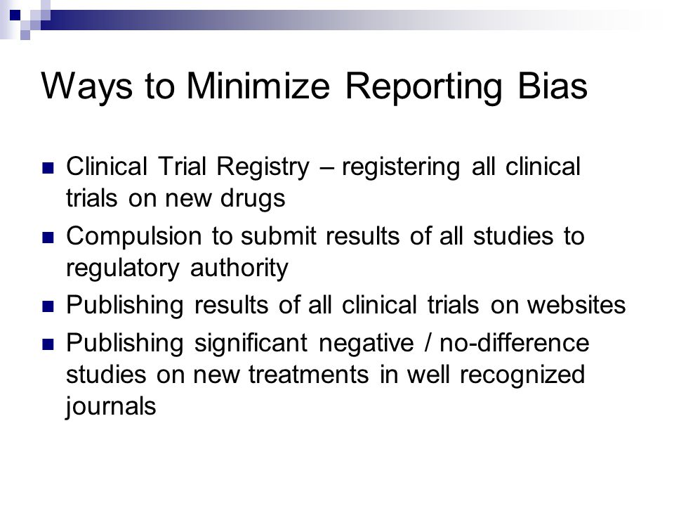 Ways to Minimize Reporting Bias