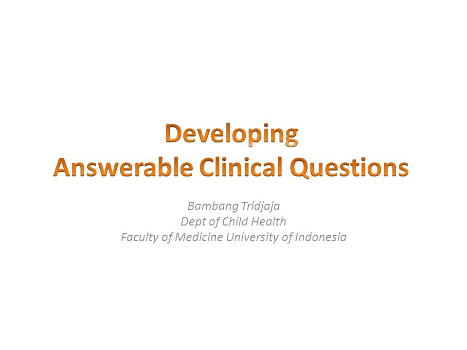 Answerable Clinical Questions