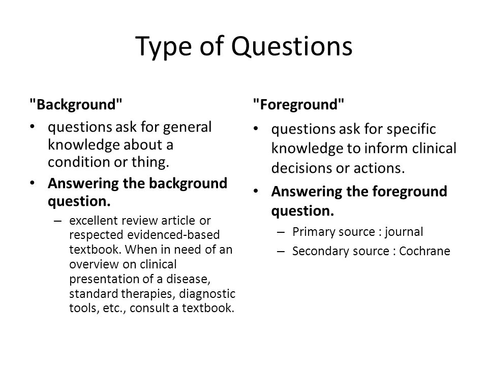 Type of Questions Background Foreground