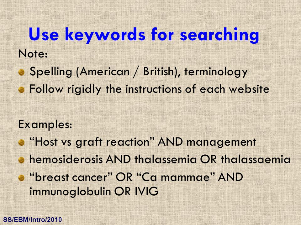 Use keywords for searching