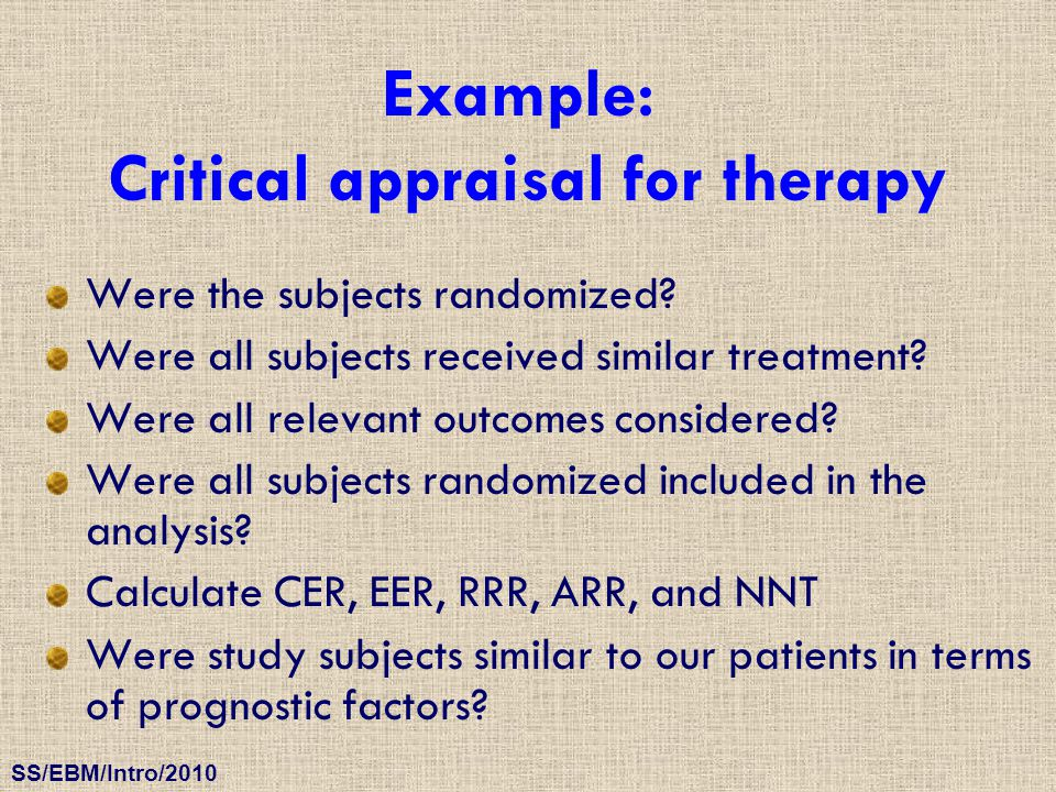 Critical appraisal for therapy