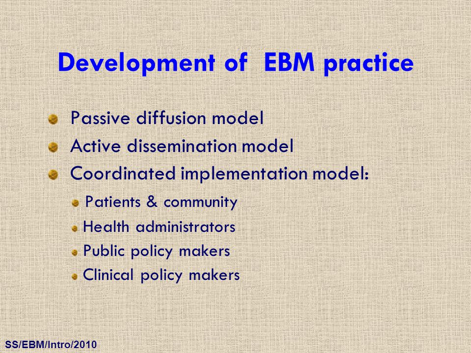 Development of EBM practice