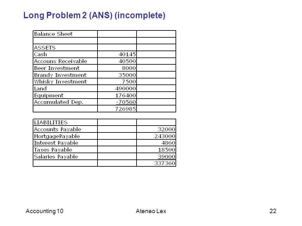 Long Problem 2 (ANS) (incomplete)